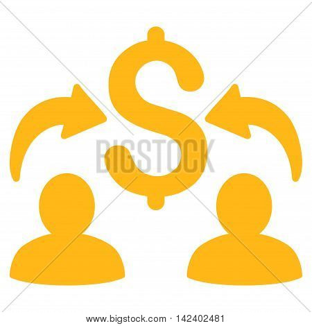 Money Changers icon. Vector style is flat iconic symbol with rounded angles, yellow color, white background.