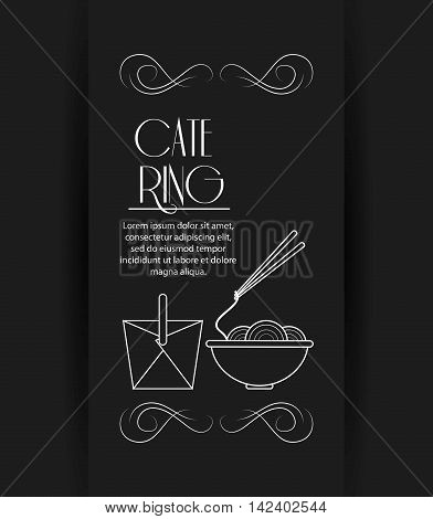 box noodle catering service menu food icon. Silhouette illustration