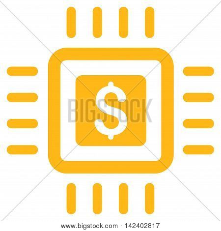 Processor Price icon. Vector style is flat iconic symbol with rounded angles, yellow color, white background.