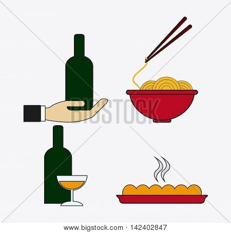 bottle cup wine hand noodle pizza catering service menu food icon
