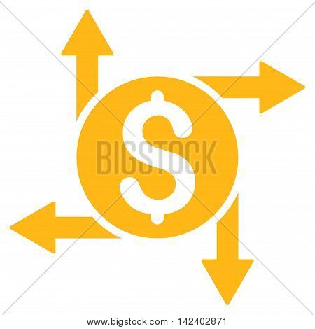 Spend Money icon. Vector style is flat iconic symbol with rounded angles, yellow color, white background.