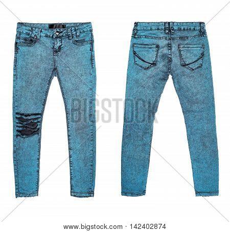 stylish grunge jeans isolated on white background