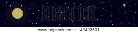 night banner with stars and moon in dark blue colors, wide format