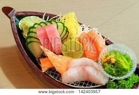 Japanese food on meal time at restaurant.