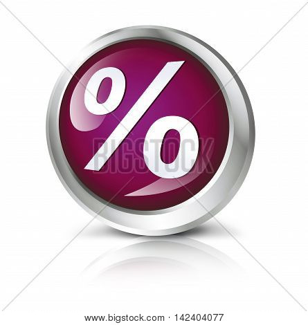 Glossy icon or button with percentage sign symbol.3D illustration
