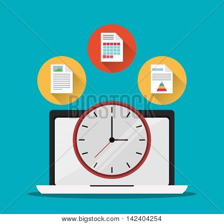 laptop document infographic clock office work time supply icon. Colorfull and flat illustration, vector