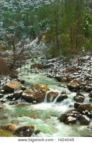 Merced River Waterfall In Winter