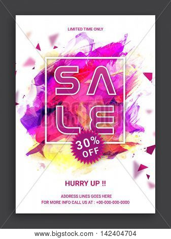Stylish Sale Flyer, Sale Banner, Sale Poster, Sale Pamphlet, 30% Discount Offer, Vector Illustration with abstract paint stroke.