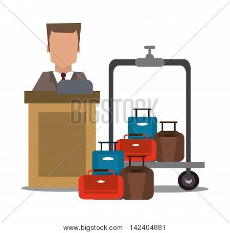 receptionist baggage luggage hotel service icon. Colorfull and flat illustration, vector
