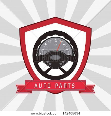 rudder shield auto parts vehicle car repair machine garage icon. Isolated and striped illustration