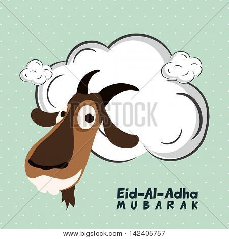 Illustration of a Goat Face with blank frame, Vector greeting card design for Muslim Community, Festival of Sacrifice, Eid-Al-Adha Mubarak.