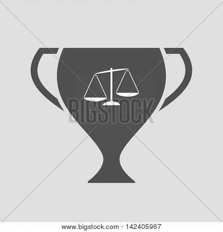 Isolated Award Cup Icon With  An Unbalanced Weight Scale