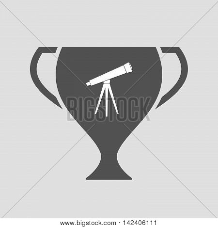 Isolated Award Cup Icon With A Telescope