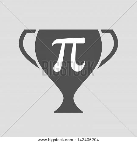 Isolated Award Cup Icon With The Number Pi Symbol
