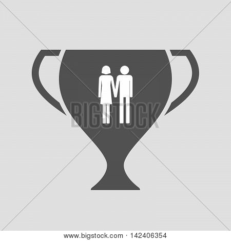 Isolated Award Cup Icon With A Heterosexual Couple Pictogram