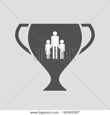 Isolated Award Cup Icon With A Male Single Parent Family Pictogram