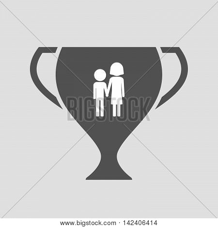 Isolated Award Cup Icon With A Childhood Pictogram