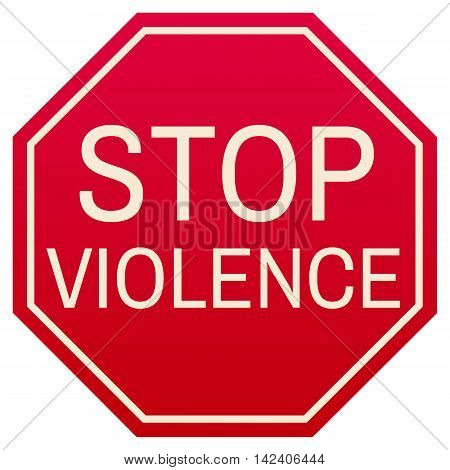 Stop Violence red symbol isolated on white background