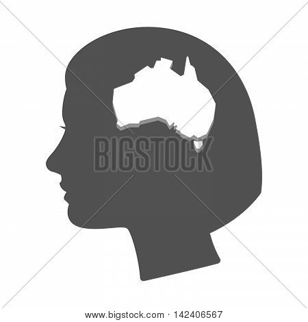 Isolated Female Head Silhouette Icon With  A Map Of Australia