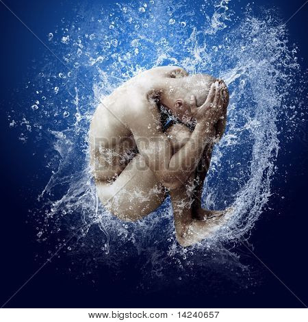 Water drops around men under water on blue background