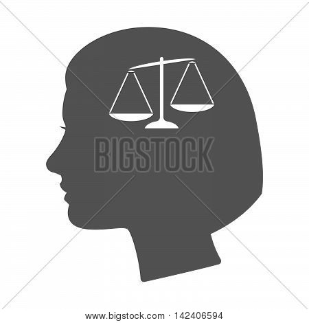 Isolated Female Head Silhouette Icon With  An Unbalanced Weight Scale