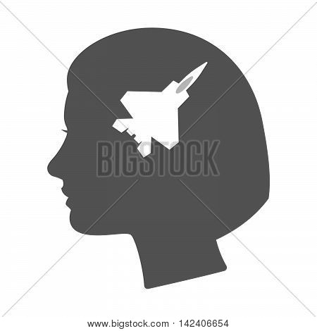 Isolated Female Head Silhouette Icon With A Combat Plane