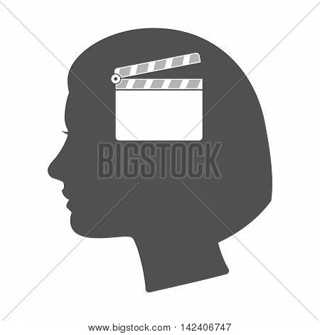 Isolated Female Head Silhouette Icon With A Clapperboard
