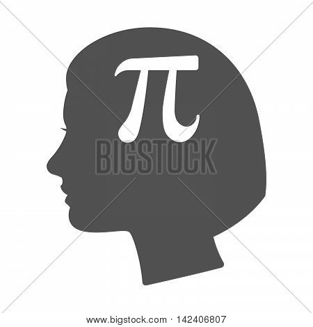 Isolated Female Head Silhouette Icon With The Number Pi Symbol