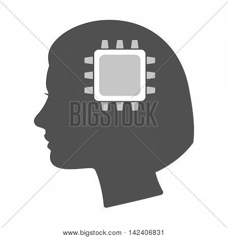 Isolated Female Head Silhouette Icon With A Cpu
