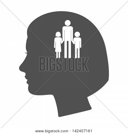 Isolated Female Head Silhouette Icon With A Male Single Parent Family Pictogram
