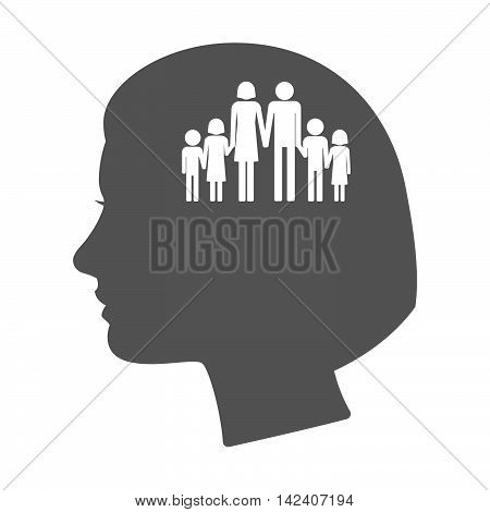 Isolated Female Head Silhouette Icon With A Large Family  Pictogram