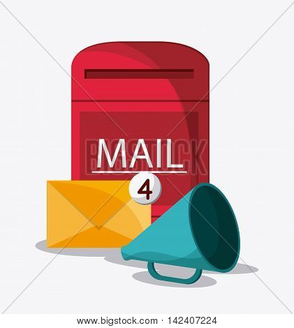 envelope box mail message chat communication icon. Colorfull and flat illustration vector
