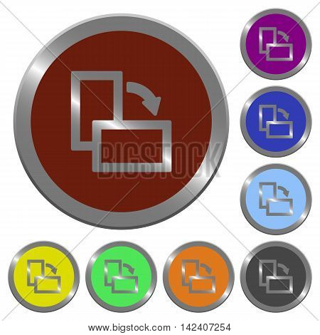 Set of color glossy coin-like rotate element right buttons