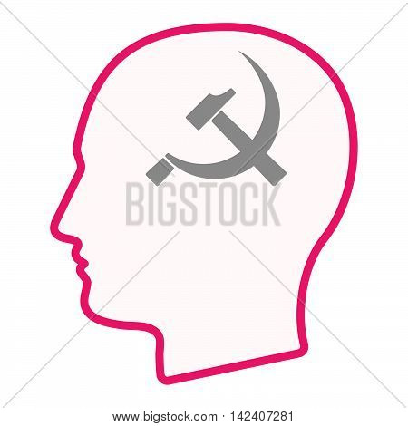 Isolated Male Head Silhouette Icon With  The Communist Symbol