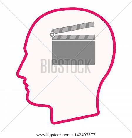 Isolated Male Head Silhouette Icon With A Clapperboard