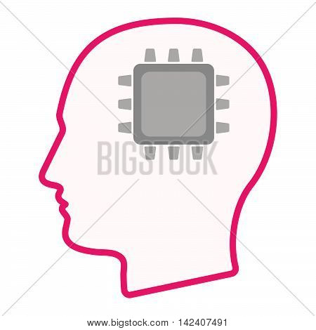 Isolated Male Head Silhouette Icon With A Cpu