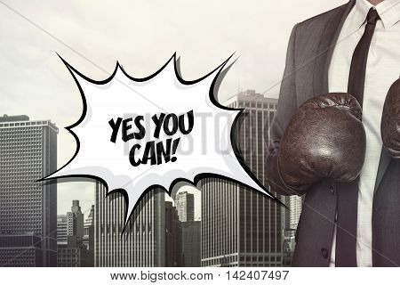 Yes you can text on speech bubble with businessman wearing boxing gloves
