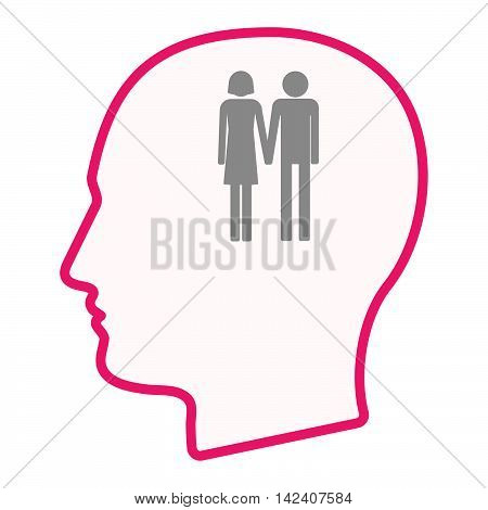 Isolated Male Head Silhouette Icon With A Heterosexual Couple Pictogram