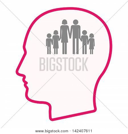 Isolated Male Head Silhouette Icon With A Large Family  Pictogram