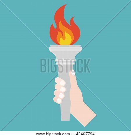 hand holding Torch symbol, flat design on cyan background