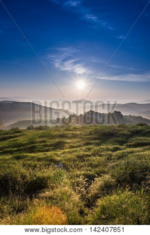 Guardistallo Tuscany Italy view from the hill of Ricrio landscape on the fog