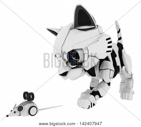 Robotic kitten with mouse 3d illustration horizontal isolated