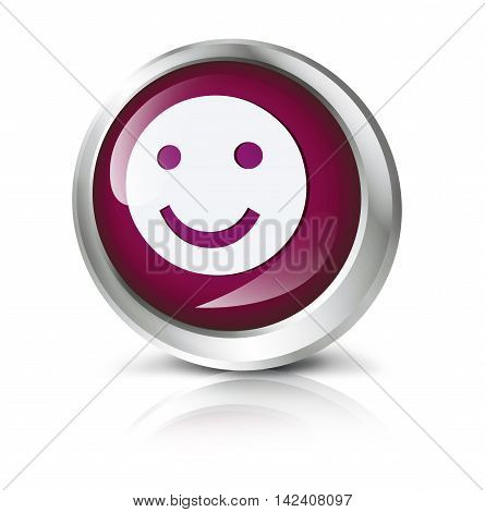 3D illustration. Glossy icon or button with smiley symbol.