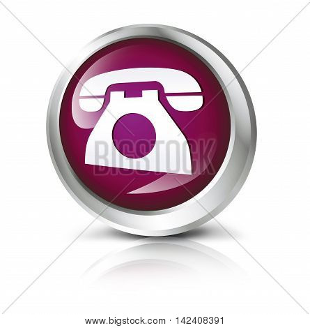 3D illustration. Glossy icon or button with telephone symbol.