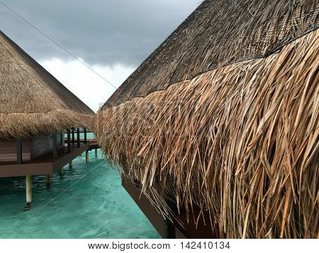 Maldives water bungalows view of the roof