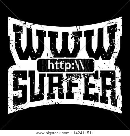WWW internet surfer t shirt typography graphics. Grunge mockup with windows address. Fashion stylish print sport wear. Template for apparel card poster. Symbol of web browser. Vector illustration