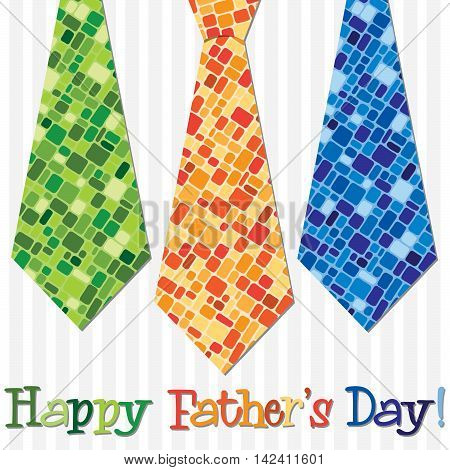 Bright Happy Fathers Day Neck Tie Card