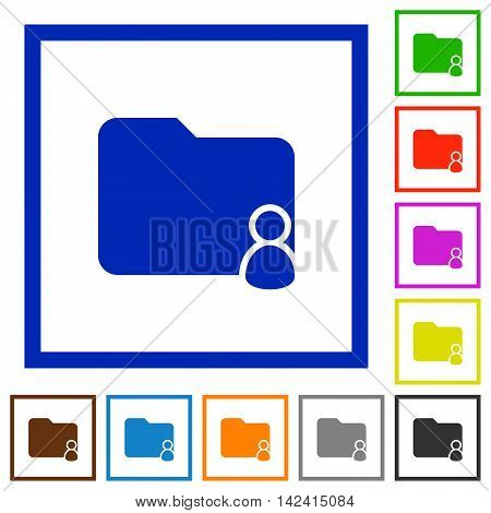 Set of color square framed Folder owner flat icons