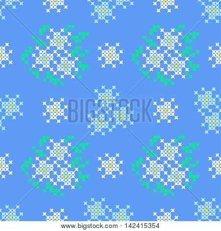 Seamless embroidered texture of flat patterns in white blue colors blossoms on a background of blue sky cross-stitch ornament for cloth