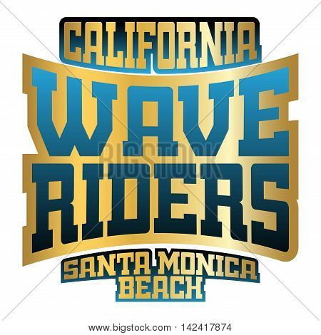 T shirt typography graphics Wave Riders. California beach retro athletic style. Fashion stylish print sports wear. Template for apparel card poster. Symbol of summer sea ocean. Vector illustration